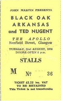 Black Oak Arkansas - Ted Nugent - 31/08/1976
