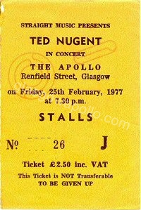 Ted Nugent - The Steve Gibbons Band - 25/02/1977