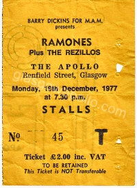 The Ramones - The REZILLOS - 19/12/1977