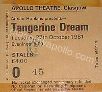 Tangerine Dream - 27/10/1981